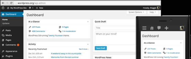 Administrationsgränssnittet i WordPress 3.8