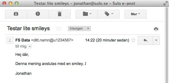 En felaktig smiley från Outlook