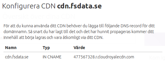 Konfigurera CDN hos Cloud Royale