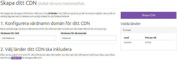 Skapa CDN hos Cloud Royale