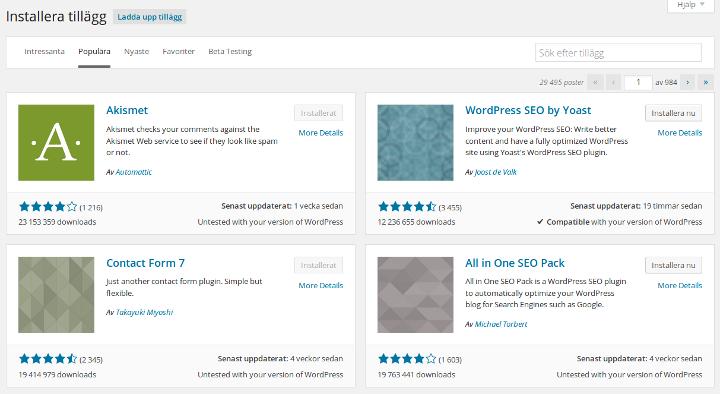 Tillägg i WordPress 4.0