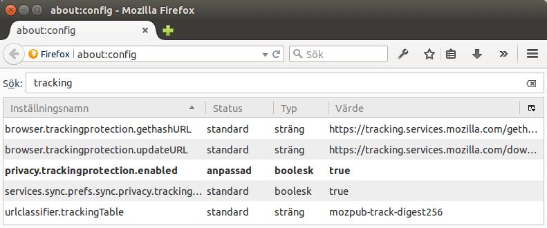 Aktivera Tracking Protection i Firefox