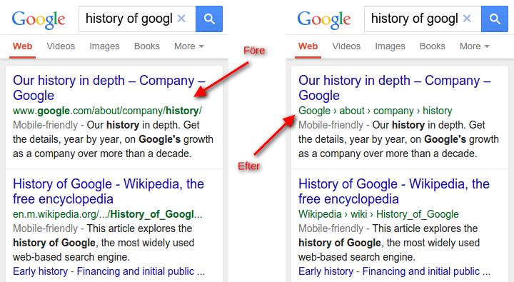 Google mobilsök med utan domännamn