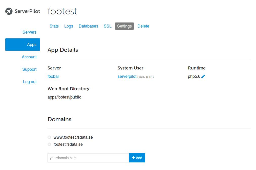 En applikation i ServerPilot