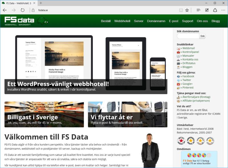 Microsoft Edge med fsdata.se
