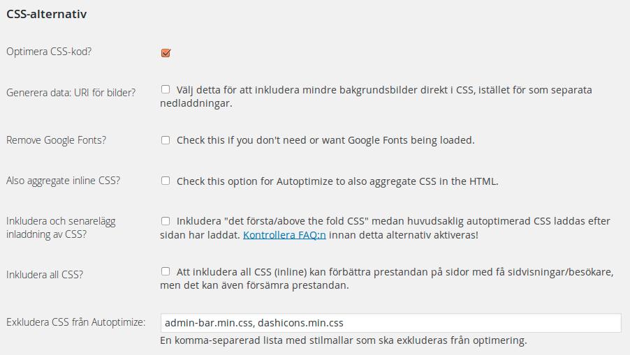 CSS-alternativ i Autoptimize